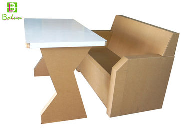 Custom Flat Cardboard Table And Chairs Stand Simple Style Wightlight