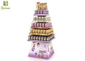 Beverage Floor Cardboard Tiered Display Rack 5 Tier Corrugated Paper 100% Recycle