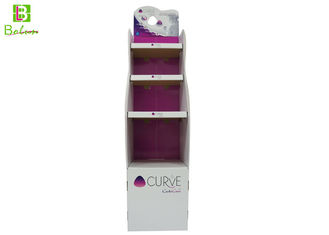White Cardboard Display Fixtures  , 3 Tier cardboard display shelves For Cosmetic