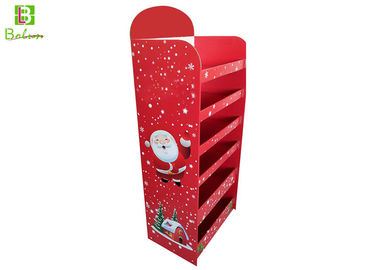 Merchandising Red Cardboard POS Display Stand Six Ties Christmas Theme