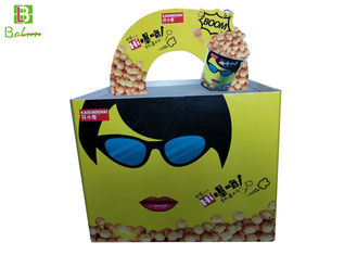 Corrugated POP POS Displays / Cardboard Counter Display Boxes With Plastic Clips