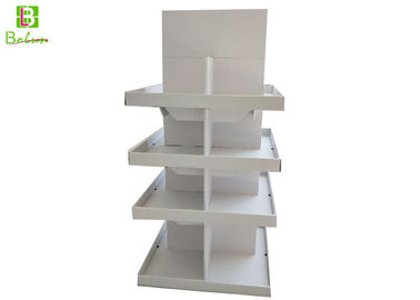 4 Tier Paper Retail Floor Display Shelves Square White Lamination Finish