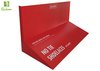 Red Shoelaces Cardboard Display Holder Mordern style For Promotion