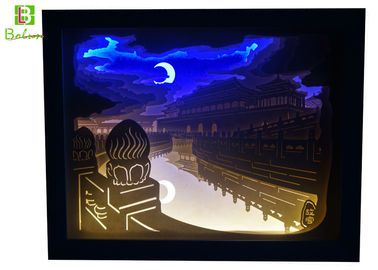 China Retail Display Props Papercut Backlit Lamp Forbidden City Night View supplier