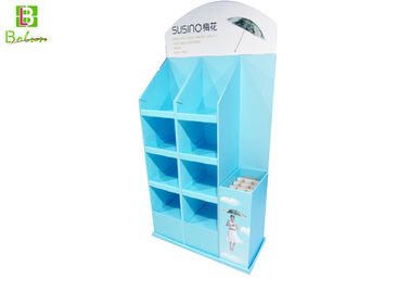 Corrugated Paper Point Of Purchase Display Racks Cardboard Box Shelves For Umbrella