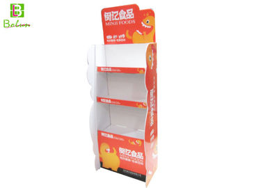 Red Floor Point Of Purchase Display Racks Cardboard Advertising Display For Snack