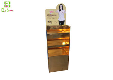 China Gold Snacks Point Of Purchase Display Racks 3 Tiers Matt Lamination supplier