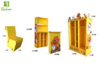 Children'S Cartoon Cardboard Display Furniture With Bookcase Water Proof
