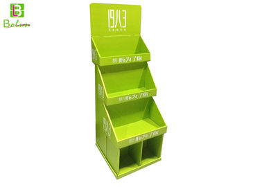 Green Cardboard Floor Display Racks 3 Panels Base With Two Boxes