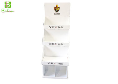 White Floor Free Standing Cardboard Displays 3 Tier For Jewelry