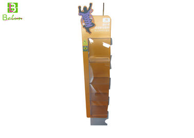 Custom Cardboard Floor Display Shelves , Supermaket Foldable Shoe Display Fixtures