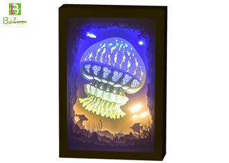 China 3d Cube Shadow Box Night Light Theme Ocean With LED Music System supplier